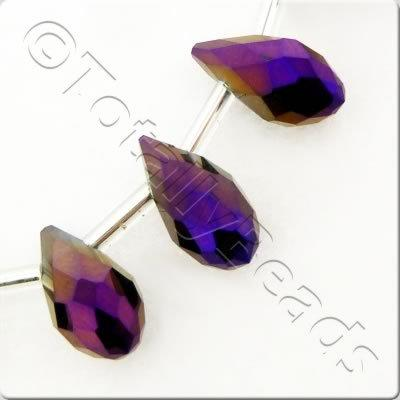 Crystal Drop Top Drilled 6x12mm - Purple Iris