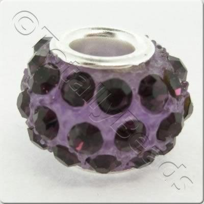 Diamante Large Hole Bead - Amethyst