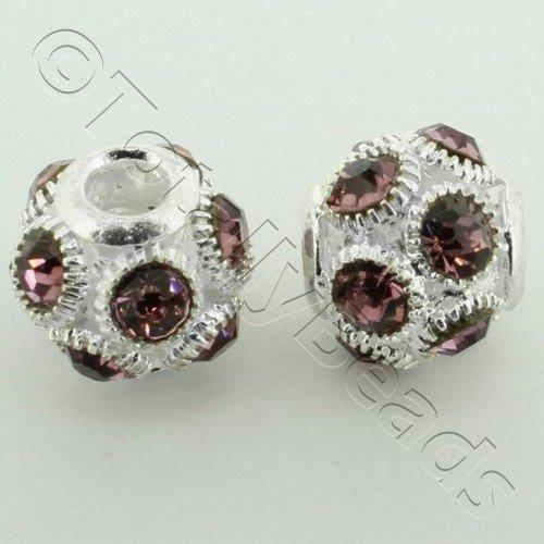 Large Hole Round Rhinestone Spacer Bead 14mm - Amethyst