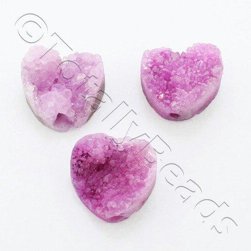 Druzy Bead Heart 12mm - Pink Plate