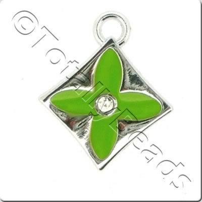 Enamel Charm - Diamond - Green