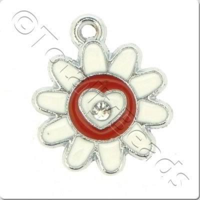 Enamel Charm - Sunflower - White