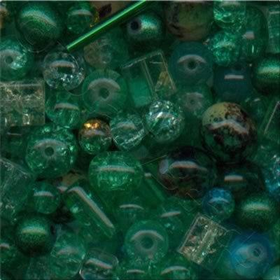 Mixed Glass Beads - Green - Tube