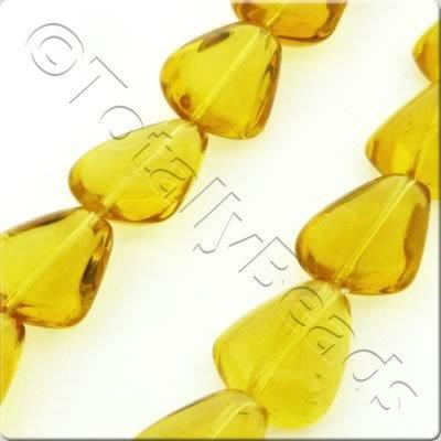 Glass Rounded Triangle Drop - 15x12mm - Amber - 21pcs