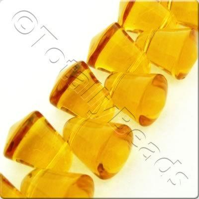 Glass Bell - 10x9mm - Amber - 37pcs