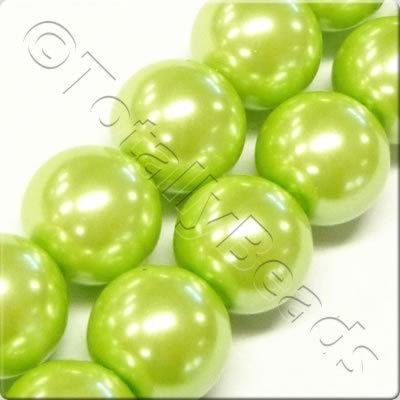 Glass Pearl Round 10mm Lime Green Grade B