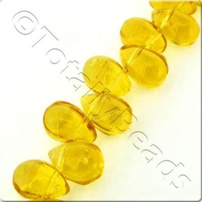 Glass Top Drilled Teardrop - 5x9mm - Amber - 56pcs