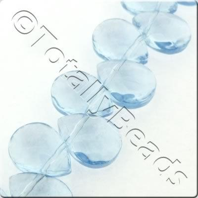 Glass Top Drilled Facet Drop - 9x12mm - Light Blue - 42pcs