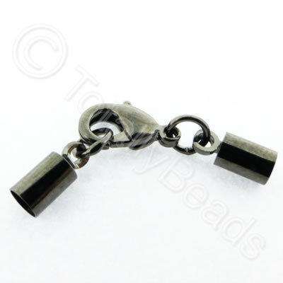 Kumihimo 4mm Barrel Lobster Clasp Black - 2 sets