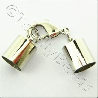 Kumihimo 10mm Barrel Lobster Clasp Rhodiumn - 1 set