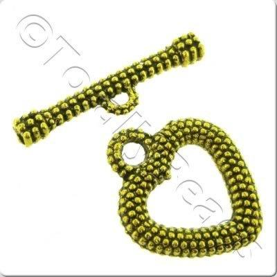 Tibetan Gold Toggle - Spotty Heart A0377