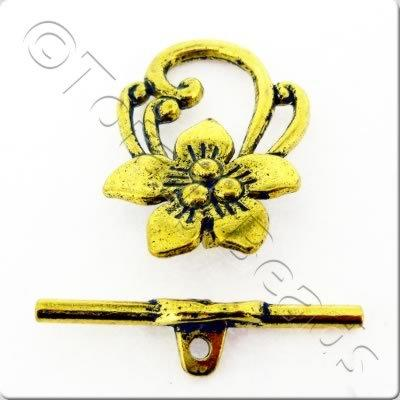 Tibetan Gold Toggle - Leaf GAC2025
