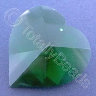 Glass Pendant Heart Green - 40mm
