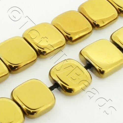 Hematite Flat Square 8mm - Gold Plated