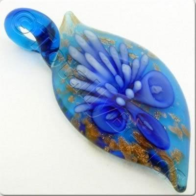 Lampwork Pendant - Drop 54mm - LPB16