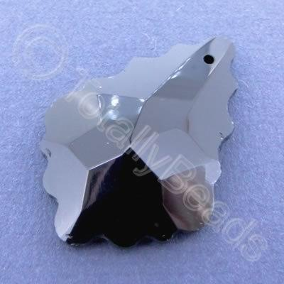 Glass Pendant Leaf Drop Black 40mm
