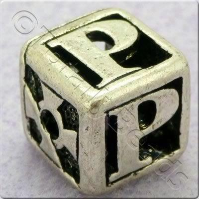 Tibetan Silver Letter Cube Bead - P