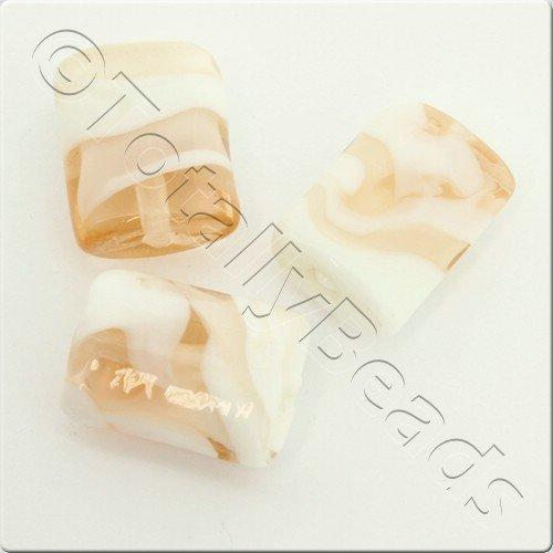 Lampwork Glass Bead Rectangle 21mm - Peach White Swirl