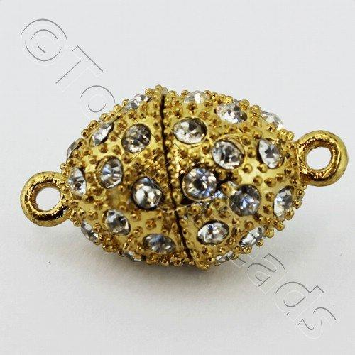 Magnetic Clasp- Crystal Spotted Oval 25mm - Gold Plated