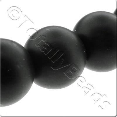 Glass Pearl Round Matt Finish - Black