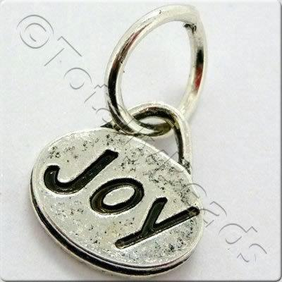 Tibetan Silver Message Tag/Charm - Joy