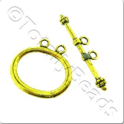 Tibetan Gold Toggle 2 Loop Oval 2 Sets