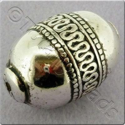 Acrylic Antique Silver Bead - Oval Wave Pattern 48mm