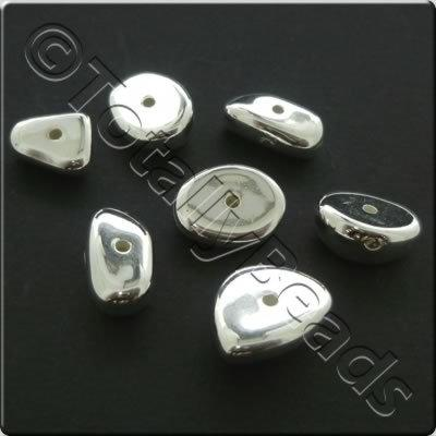 Metalised Acrylic Bead Nuggets 10-15mm - Silver 50pcs