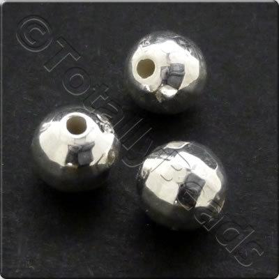 Metalised Acrylic Bead Small Facet Round 6mm - Silver 150pcs