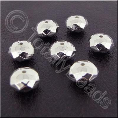 Metalised Acrylic Faceted Rondelle - 8x6mm - Silver 80pcs