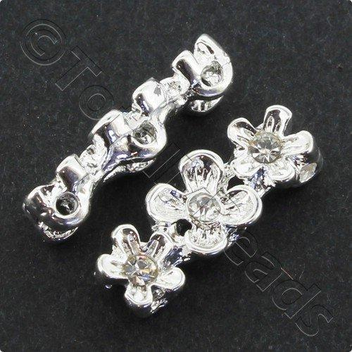 Silver Metal Spacer Bar 3 Hole Flower Crystal 17mm 7pcs