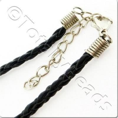 Tight Plaited Leather Cord - Black
