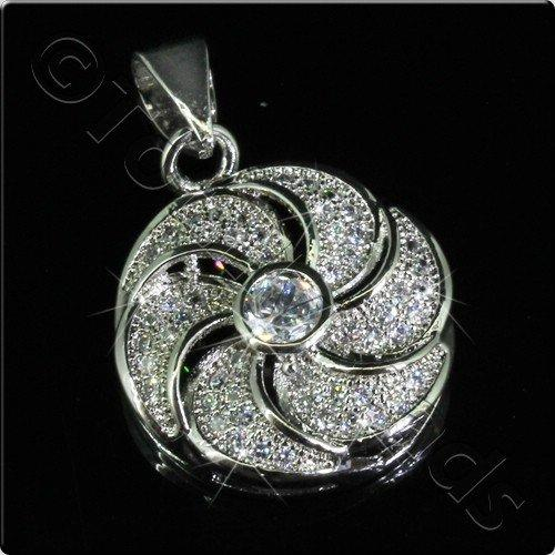 Pave Crystal Pendant - Silver Swirl Disc