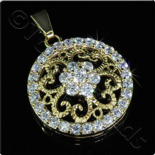 Pave Crystal Pendant - Gold Filigree Disc