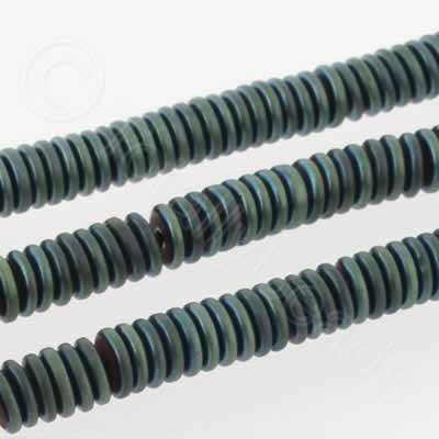 Hematite Rondelle 4mm Heshi - Matt Green Plated