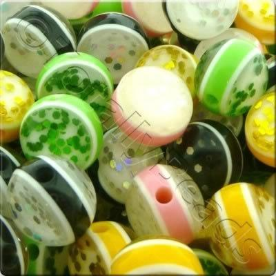 Resin Bead - Glitter Stripe 12mm Round - Mixed