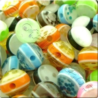 Resin Bead - Glitter Stripe 8mm Round - Mixed