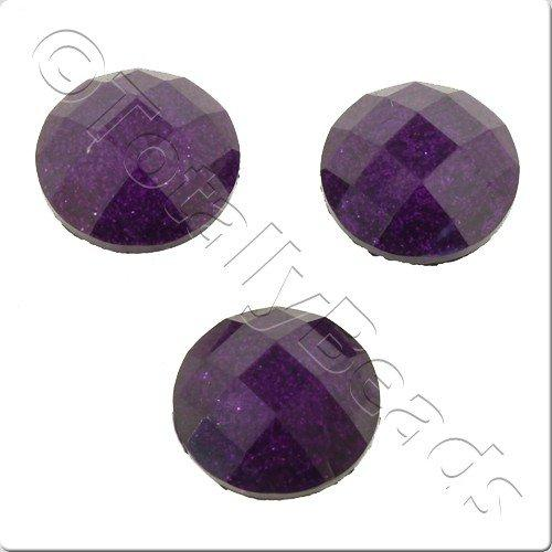 Resin Cabochon 10mm - Facet Sparkle Purple 10pcs