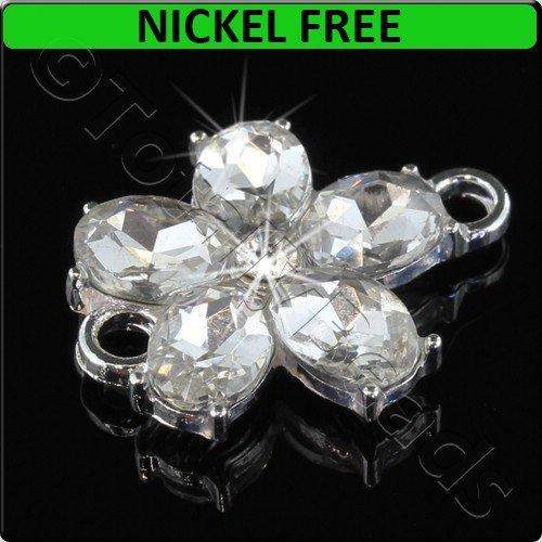 Silver Metal Connector Flower Crystal 20x25mm