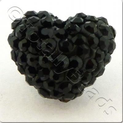 Shamballa Heart Bead - 20mm - Jet Black