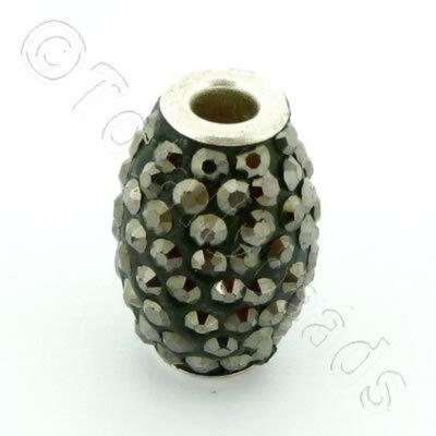 Shamballa Rice Bead - 20x14mm - Hematite