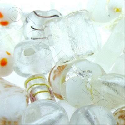 Lampwork & Silver Foil Mixed Beads 100g - Clear & White