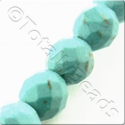 Synthetic Turquoise Facet Round 6mm