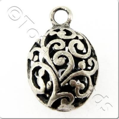 Tibetan Silver Charm - Filigree Small Oval