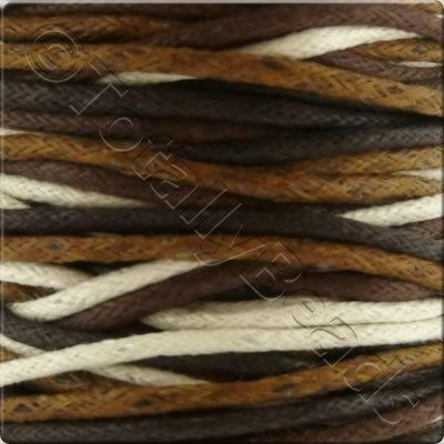 Wax Cotton Cord (1.5mm) Mix - 4x2 metres - Brown