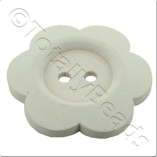 Wooden Flower Button 50mm - White