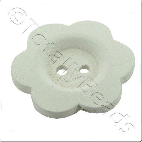 Wooden Flower Button 27mm - White