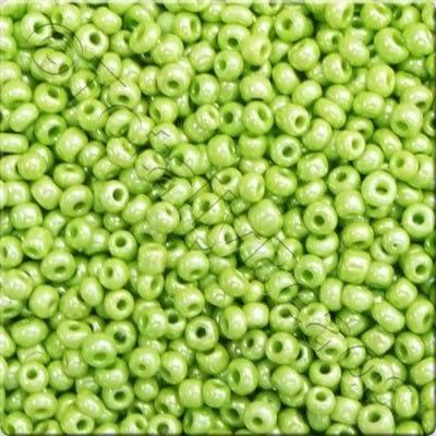 Seed Beads Opaque Luster  Lime Green - Size 8