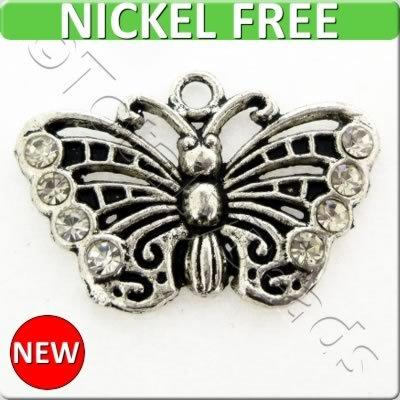 Antique Silver Metal Charm - Crystal Butterfly 26mm 2pcs - X1651