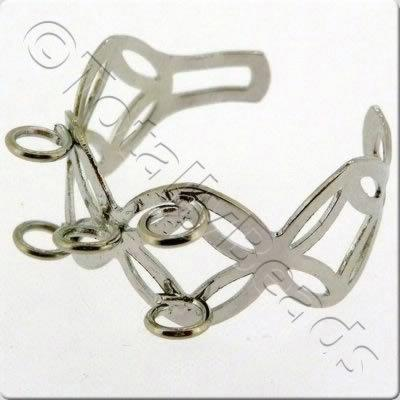 Beading Ring - 5 Loop Cross - Rhodium Colour